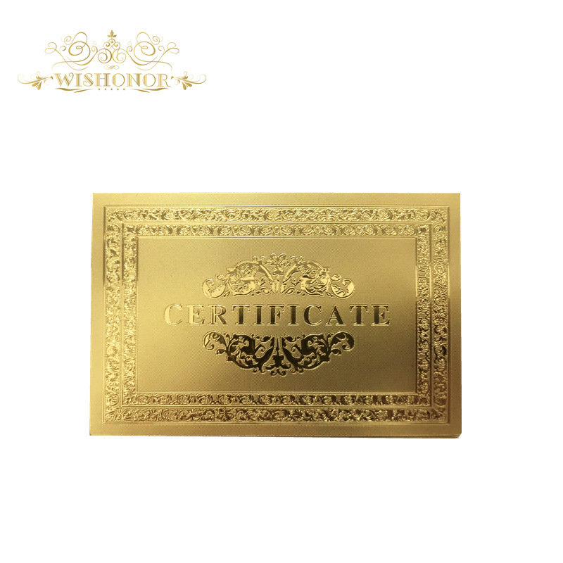50pcs/lot Nice Certificates Of Authenticity 99.9% 24 Carat Gold Certification For Beautiful Gifts And Collection
