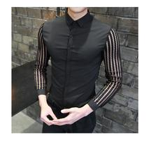 Long Sleeve Shirt Male Slim Mens Dress Shirts Lace Cutout Blouse Men Hawaiian mens
