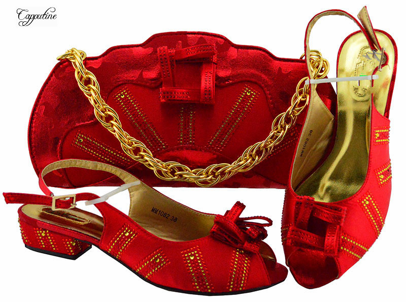 Excellent red African medium heel buckle shoes and handbag sets with rhinestones for wedding/party MM1082 many colorExcellent red African medium heel buckle shoes and handbag sets with rhinestones for wedding/party MM1082 many color