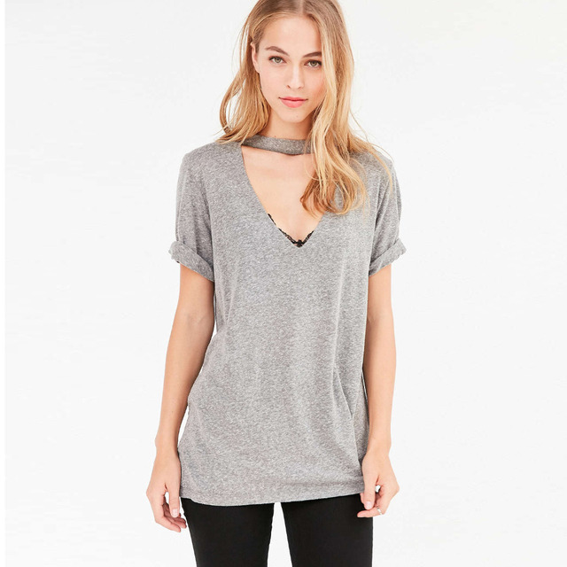 427f3bb2 Rolled up short sleeve deep V neck choker t shirts for women grey blue  white slim fit basic tees ladies stylish casual sexy tops