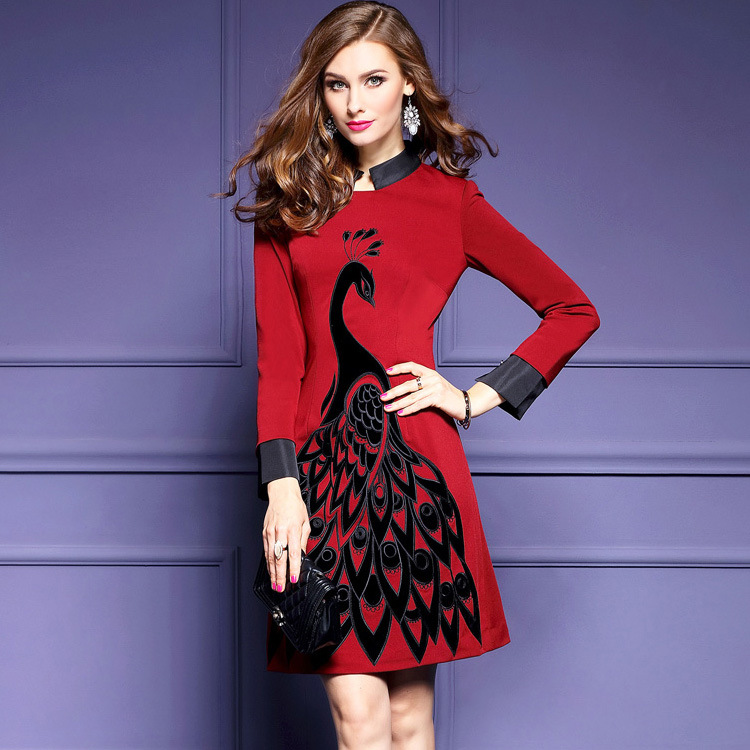 93a2d1acc19 Plus Size Embroidery Slim Stylish Embroidered Collar Vintage Dress A line National  Wind Autumn Dress Women Red Black Dress-in Dresses from Women s Clothing ...