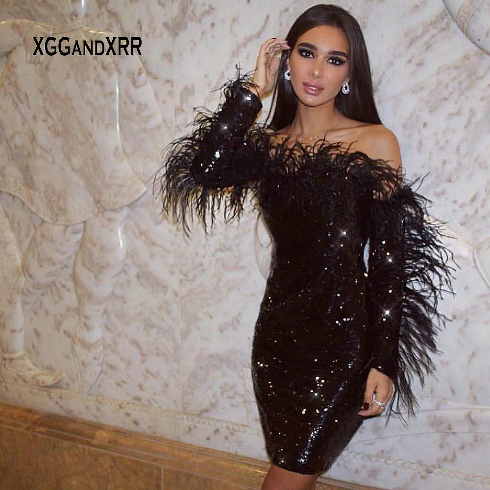 Sexy Sequin Dress 2019 Long Sleeves Cocktail Dresses Strapless Feather Off Shoulder Sparkling Woman Short Party Gown Plus Size