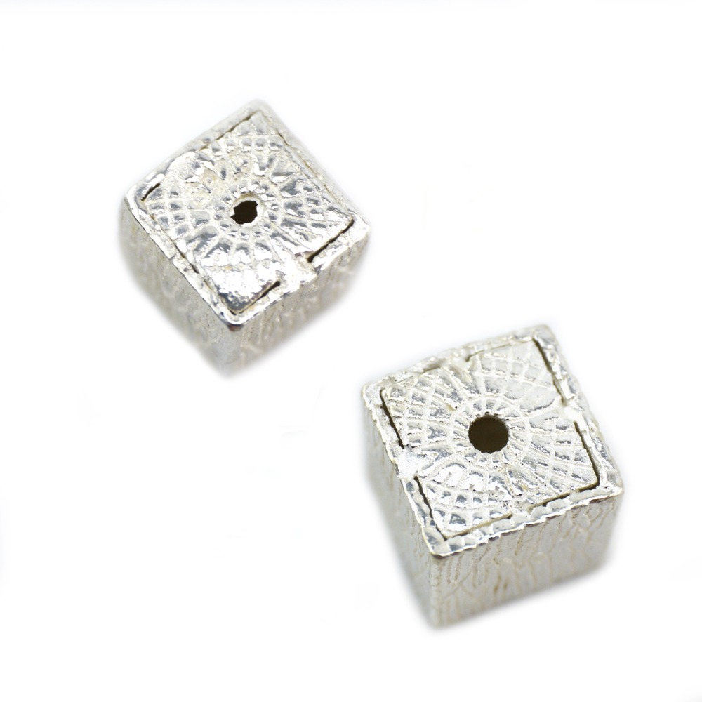 2 Sterling Silver Square Cube Beads 925 Argent Spacer Perles 6 mm 8 mm 10 mm