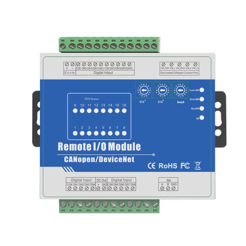 CANopen IO Module 16 Optical-isolated Digital Inputs Supports High-speed Pulse Count For Fieldbus M410C
