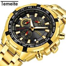 TEMEITE Топ люксовый бренд наручные часы для мужчин Спорт на открытом воздухе для мужчин s кварцевые водонепроницаемый светящийся хронограф мужские часы Relogio Masculino
