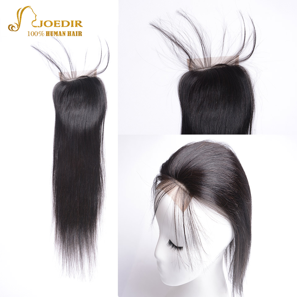 JOEDIR Brazilian Human hair Straight Hair Closure 4x4 Swiss Lace Closure 8 To 20 Inch Human Hair Lace Closure Free part closure