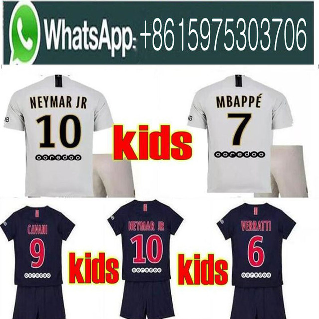 7dd7551acdc 2019 Paris kids kit soccer Jerseys 18 19 mbappe home away VERRATTI CAVANI  DI MARIA MAILLOT DE FOOT child survetement psg kid