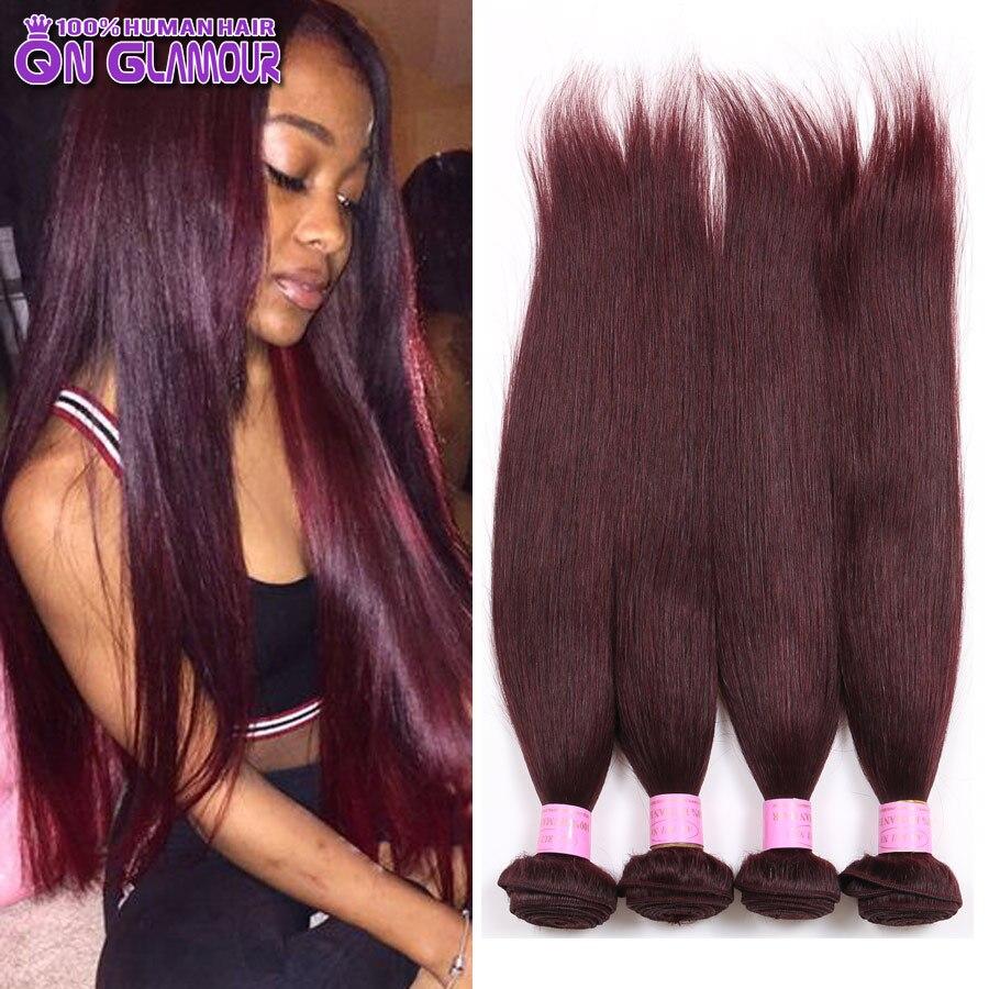 Queen Glamour Peruvian Virgin Hair Straight 4 Bundles 99j Red