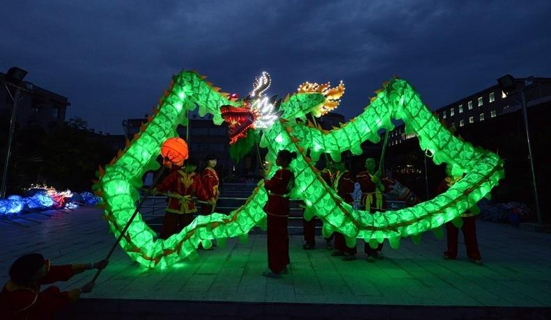 18M 10 suaugusiųjų žalias šviestuvas KINIJOS DRAGONO ŠOKIS šilko folkloro šventės šventinis kostiumas