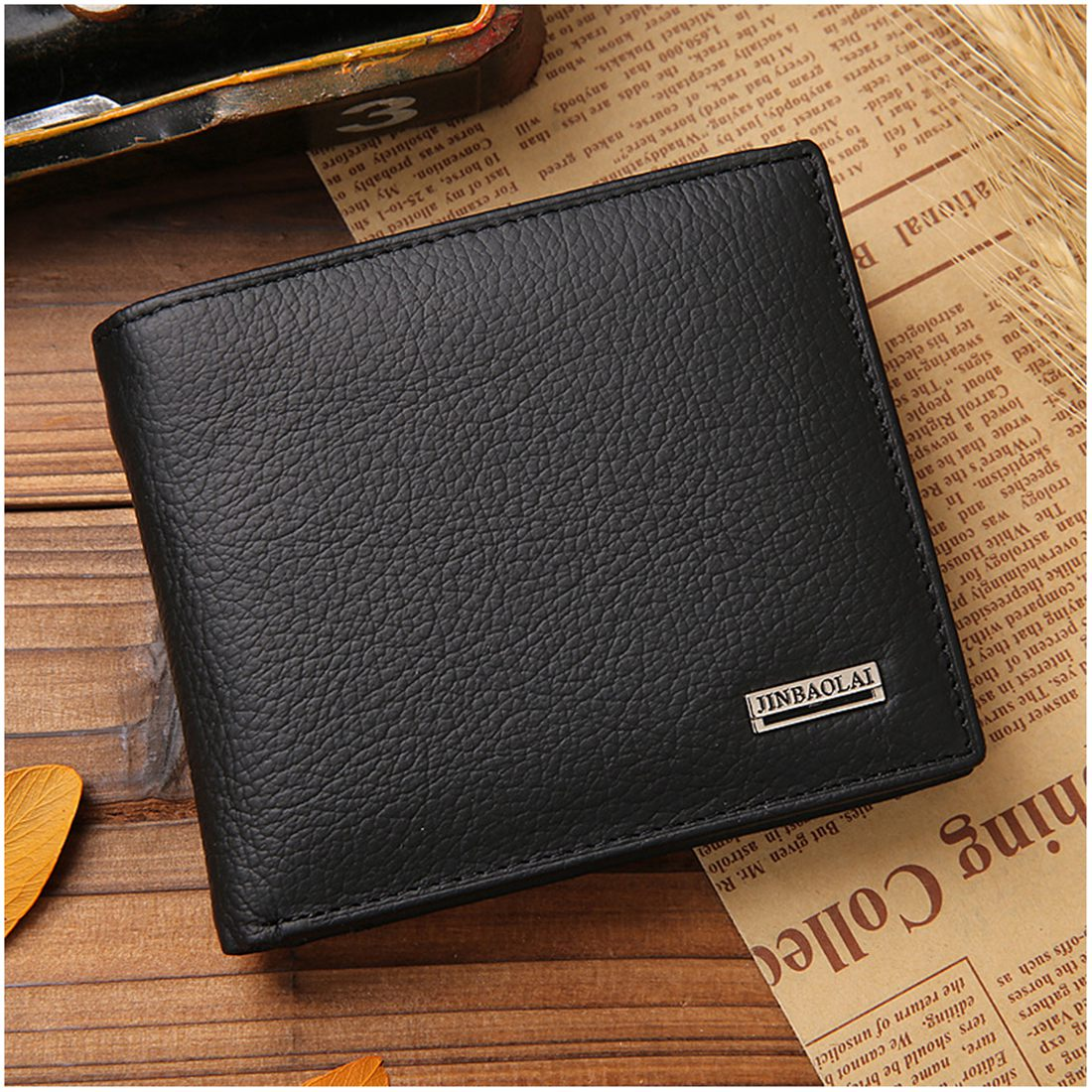 JINBAOLAI Small Short Leather Mens Wallet Male Wallet Bag Wallet Vallet Card Money Persian world Wallet