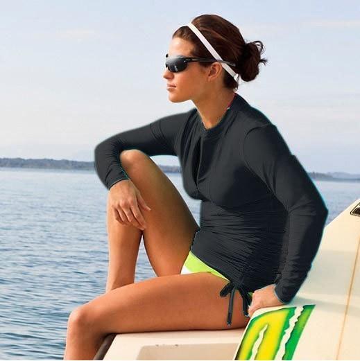 Quick Dry Sun Protection Long-sleeved Surf Rash Guard Tops Women's Wetsuit Surfing Swimwear Shirt Water Sports Clothing Pakistan