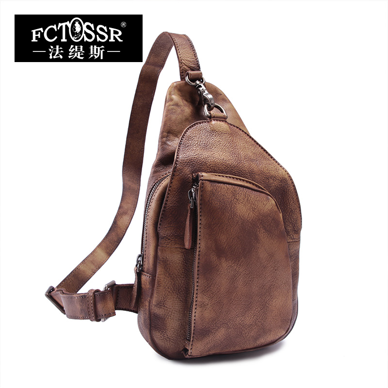 f32805653e24 Brown Leather Bags 2018 Genuine Leather Messenger Bag Vintage Casual Travel  Handmade Cowhide Chest Pack Crossbody Bags Men Women