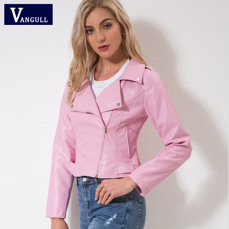 Vangull Brand Motorcycle PU   Leather   Jacket Women Winter Autumn New Fashion Coat Pink Zipper Outerwear jacket New 2018 Coat