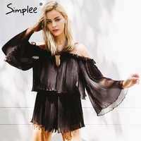 Simplee Sexy Off Shoulder Pleated Rompers Womens Jumpsuit Lace Up Chiffon Jumpsuit Flare Sleeve Sweet Ruffle