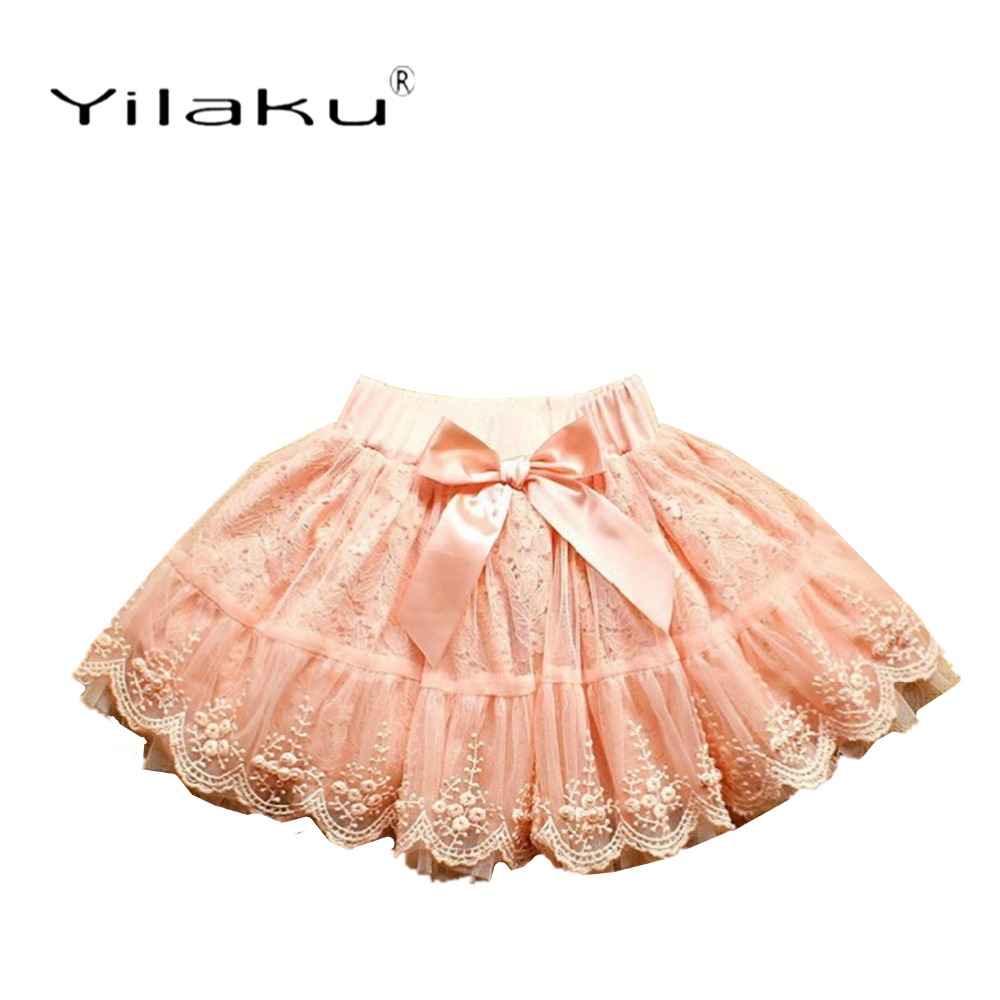 Yilaku Girls Skirts Fashion Pearl Lace Skirt For Girl Tutu Skirt Summer Kids Clothes Pleated Toddler Baby Girl Skirts CI058 pearl beaded flounce skirt