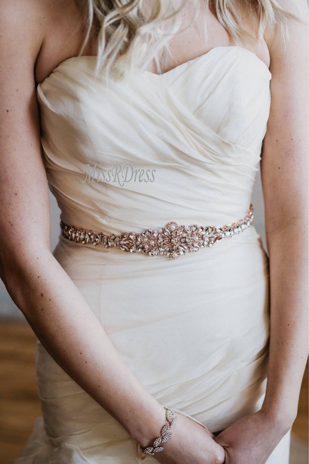 Trouwjurk Riem MissRDress Handgemaakte Avondjurk Riem Strass Sjerp - Bruiloft accessoires