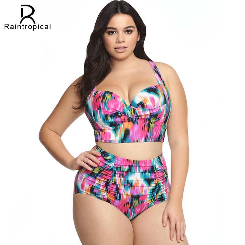 565d638d76 2019 New Plus Size Swimwear Large Sizes Swimsuit High Waist Bikini Women  Beach Wear Push Up
