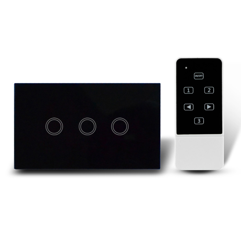 3 Keys US style touch light switch+LED indicator+wireless remote control,crystal glass panel wall switch us 1gang hotel tempered glass panel smart house wall light switch remote control switch touch control light switch led indicator
