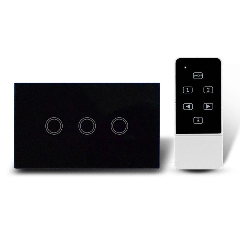 3 touches nous style tactile interrupteur + led indicateur + sans fil télécommande, panneau verre cristal interrupteur mural