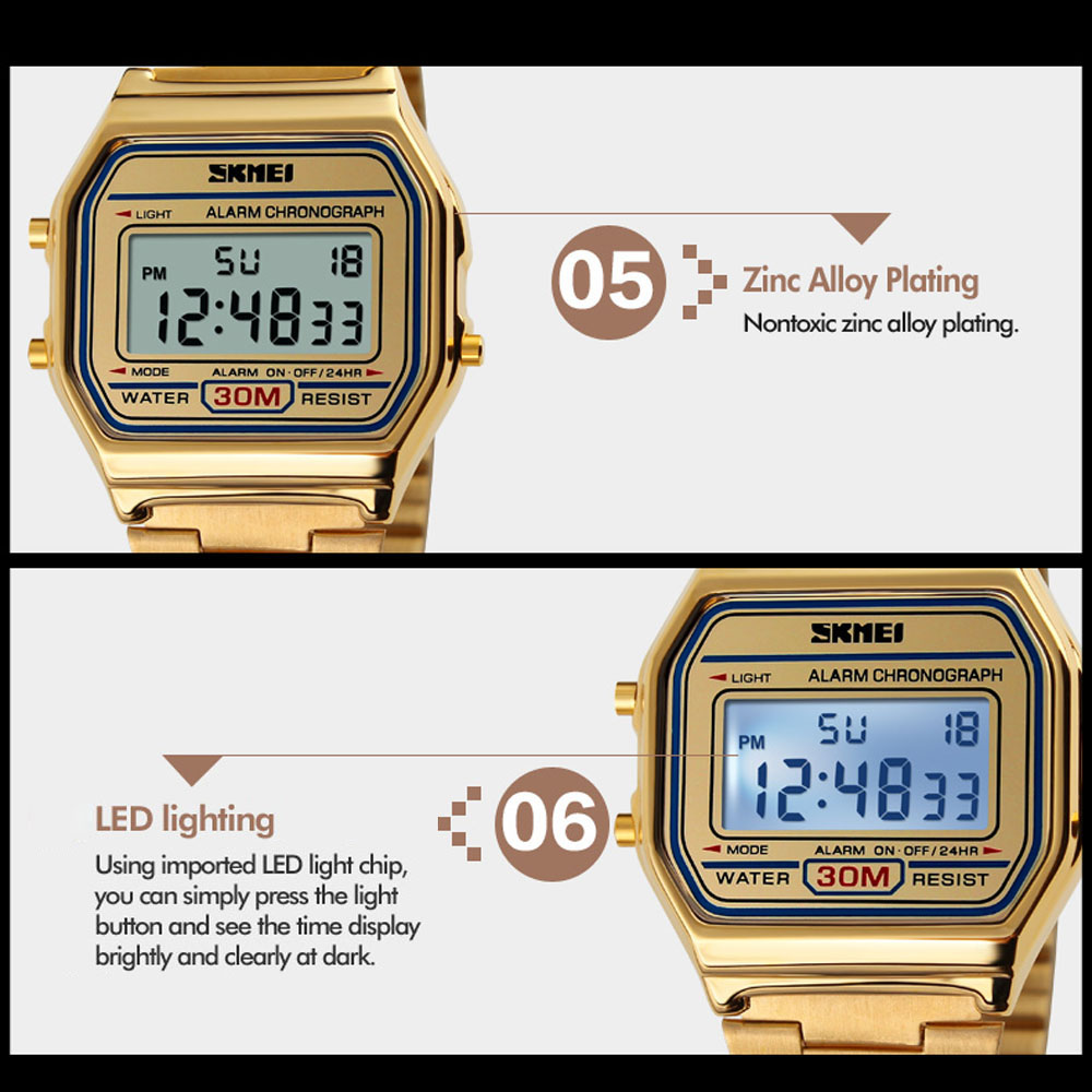 Skmei 1123 Led Digital Watch Men Sports Watches Mens Stainless Steel Jam Tangan Casio Original Package List 1 Wristwatch