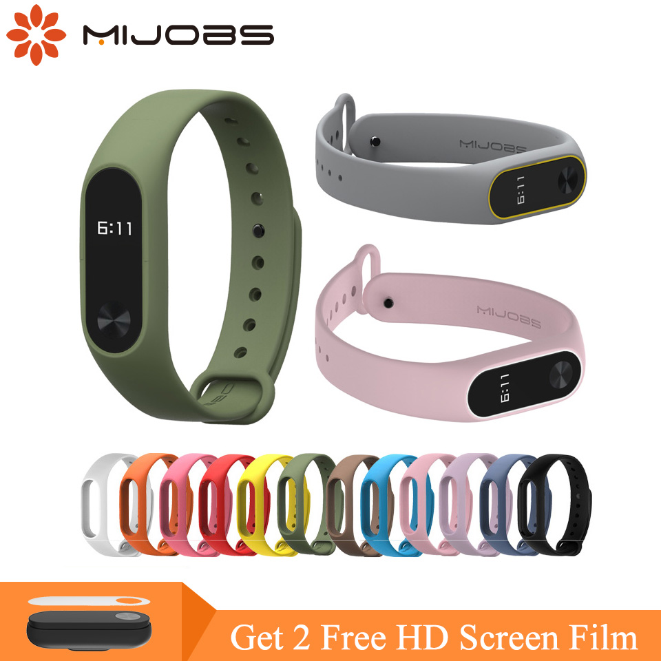 Mijobs mi band 2 Accessories Pulseira Miband 2 Strap Replacement Silicone Wrist