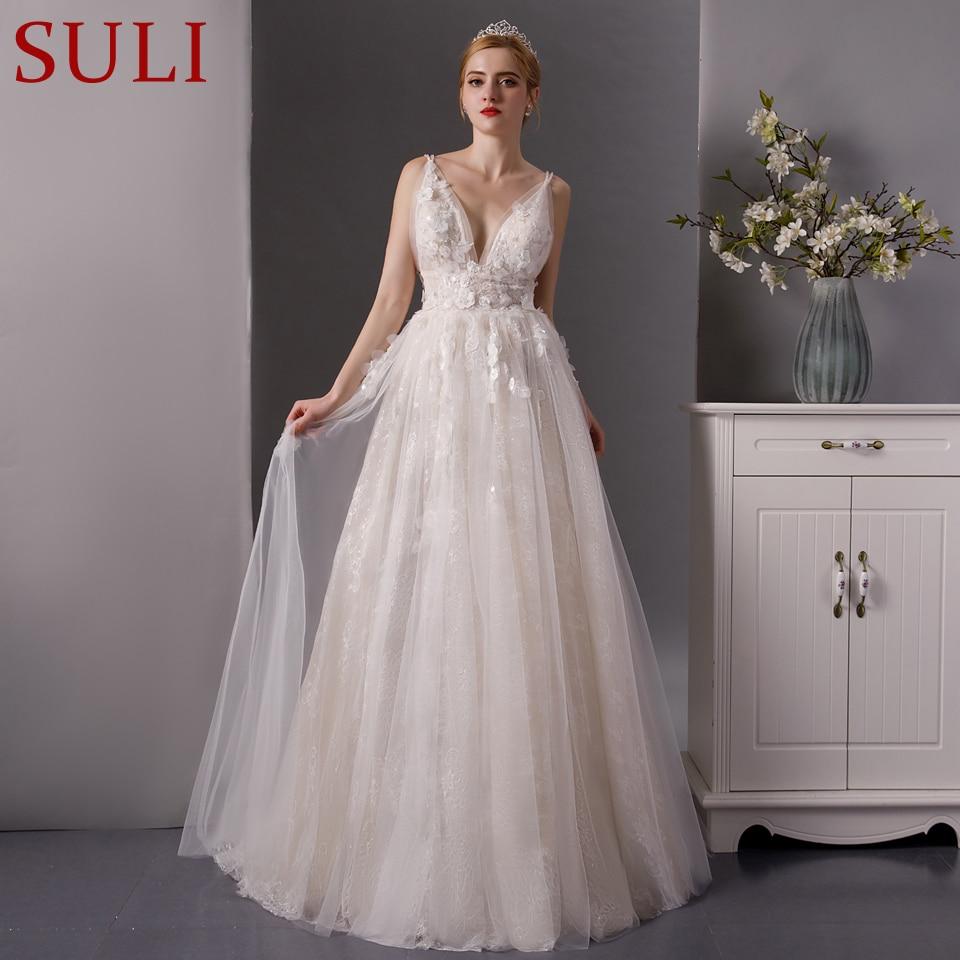 SL 6077 deep neckline lace beach wedding dress 2019 long train wedding bridal gown