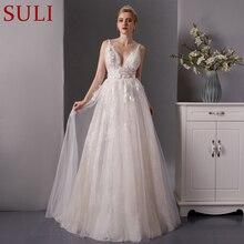 Robe de mariée en dentelle, décolleté profond, prix réel, avec train long en tulle, style boho, robe de mariée, grande taille, modèle SL 6077