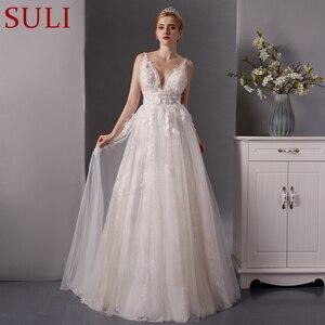 Image 1 - SL 6077 derin boyun çizgisi gerçek fiyat dantel plaj düğün elbisesi 2019 sposa uzun tren tül vestido boho düğün gelin kıyafeti artı boyutu