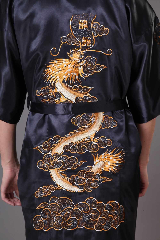 ブルー中国のメンズ刺繍ローブ着物ドレスネグリジェサテンパジャマバスローブ Hombre スパースター SML XL XXL XXXL s0009