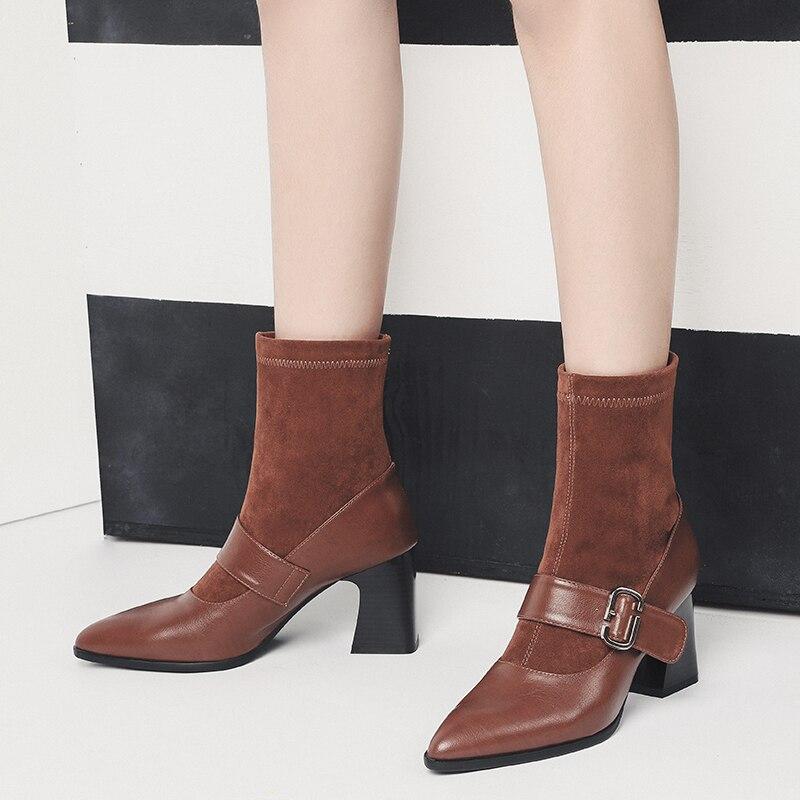 f1a8e0122cf De moda Correa hebilla Decoración Estilo de Europa zapatos de mujer Sexy  punta Retro alta tacones gruesos botas bombas de Patchwork en Botines de  Zapatos en ...
