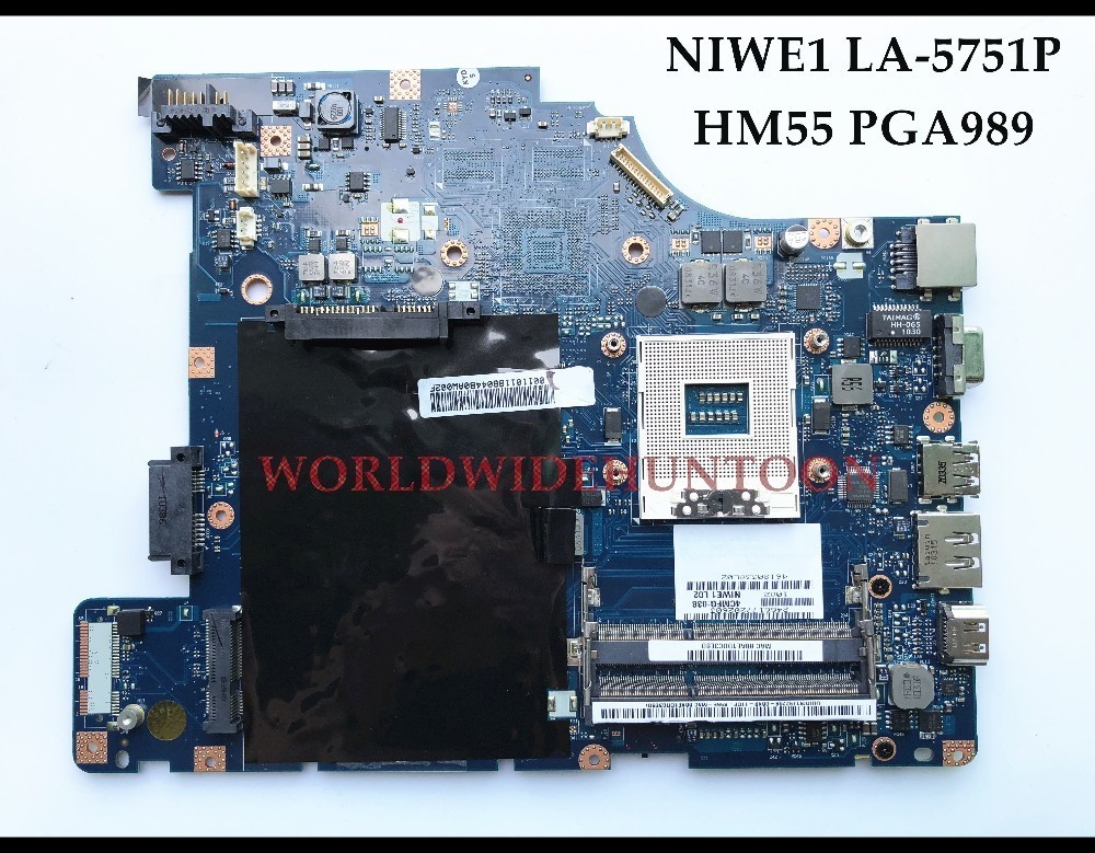 Wholesale high quality NIWE1 LA-5751P FOR Lenovo Ideapad G460 Laptop Motherboard HM55 PGA989 DDR3 100% Fully Tested high quality desktop motherboard for 580