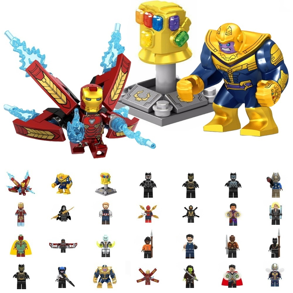 цена на Super Heroes thanos Infinity Gauntlet Spider Iron Man Building Blocks falcon vision Figure Bricks Toy kid gift Compatible Legoed