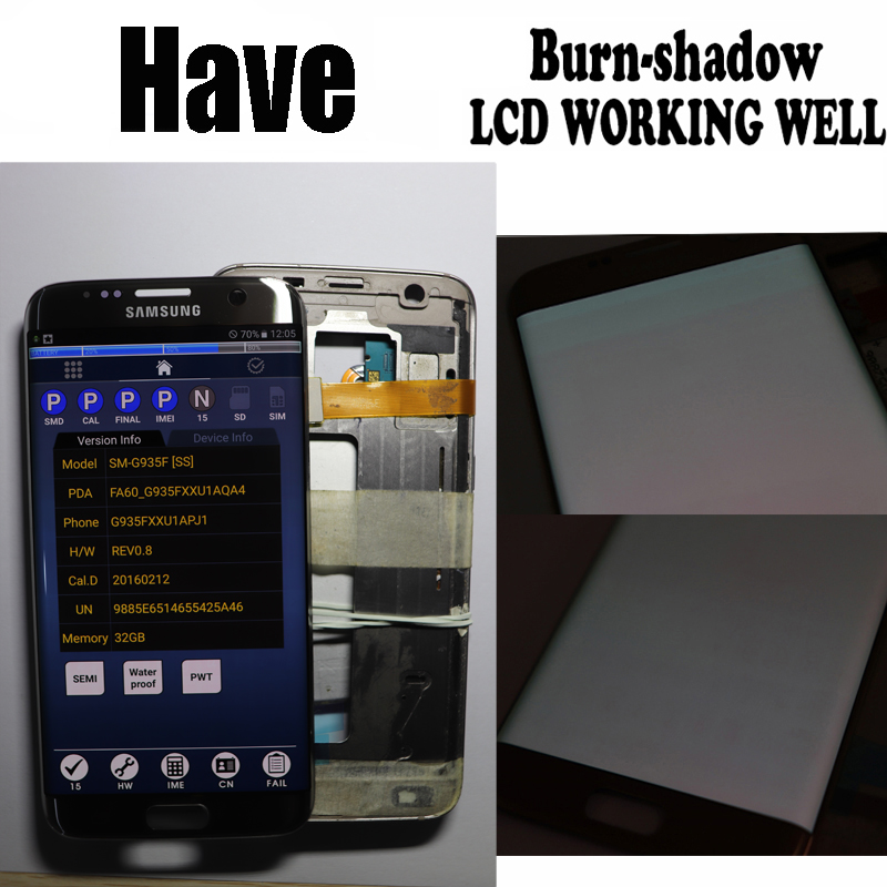 5.5'' The Burn-Shadow LCD For Samsung Galaxy S7 Edge Display With Frame G935F G935FD Screen Digitizer Assembly With Service Pack