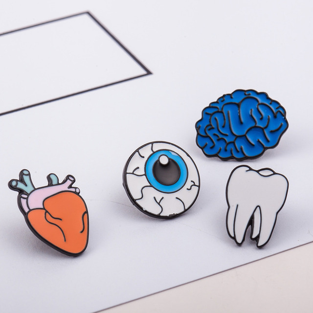 10 pieces/lot Brooch Pins Women Men Enamel Metal Heart Tooth Brain Eye Organ Brooches Badges Cartoon Jewelry Clothes Accessories