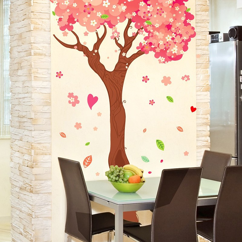 Big Size Cartoon Pink Warm Romantic Cherry Blossom Tree DIY Wall Stickers  Living Room TV/Sofa Backdrop Home Decor Mural Decal In Wall Stickers From  Home ...