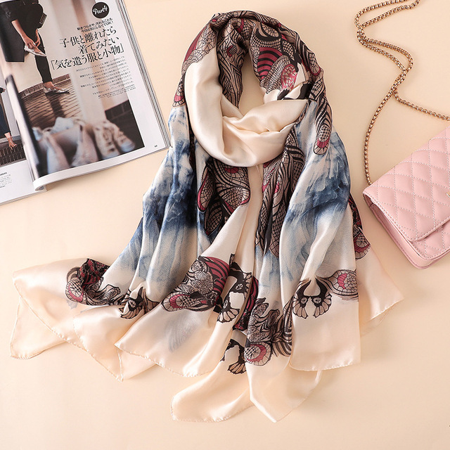 New Brand Women's Silk Summer Scarf Soft Print Silk Scarves Large Shawls and Wraps Long Lady Pashmina Hijab Beach Stole