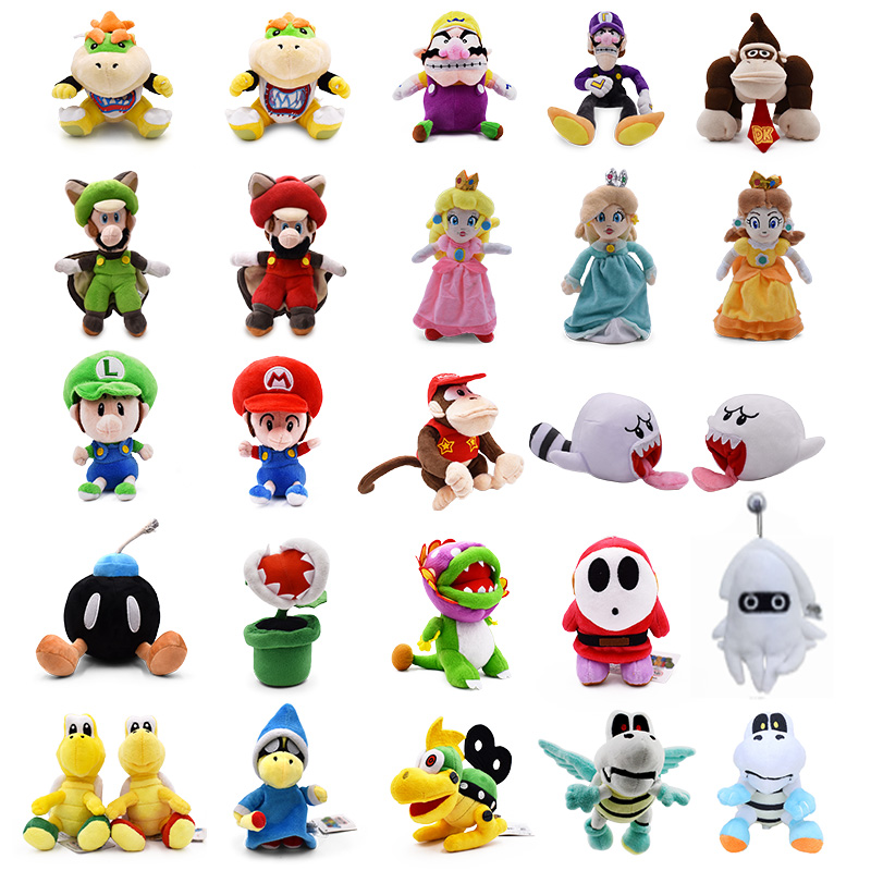 5-11inch Mario Bros Bowser JR Boo Charon Princess Peach Daisy Koopa Wario Waluigi Blooper Soft Plush Toys Doll Kids Gifts