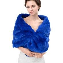 6a6ef9c03b91 Winter Wedding Bridal Faux Fur Shawl Stole Wraps Shrug Outerwear Women  Jacket Etole Mariage Bolero Black