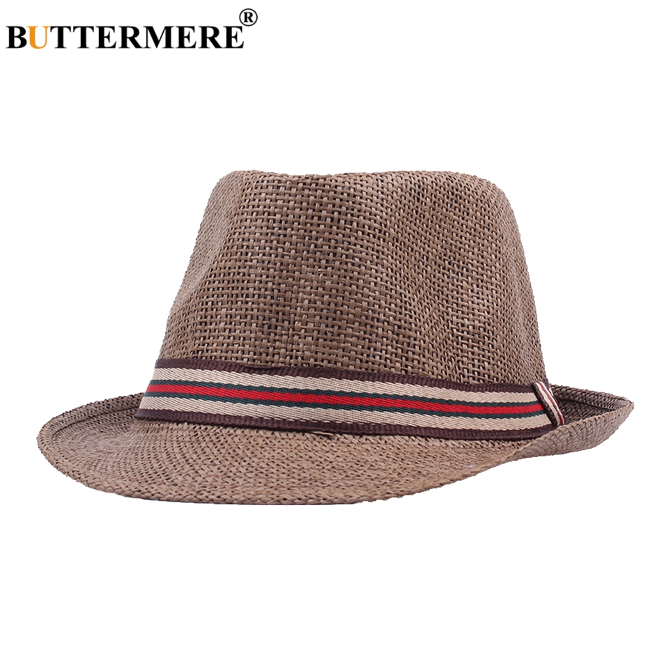 6e51a87a8e5 BUTTERMERE Summer Beach Sun Hats Ladies Vintage Stylish Casual Straw Hat  Basic Spring Korean Classic Fedora Hats For Mens-in Sun Hats from Apparel  ...