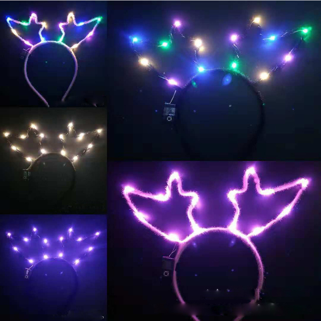 New LED Flashing Elk Deer Animal Ears Headband Kids Adults Lighted Hairband Headwear Birthday Rave Glow Party Christmas