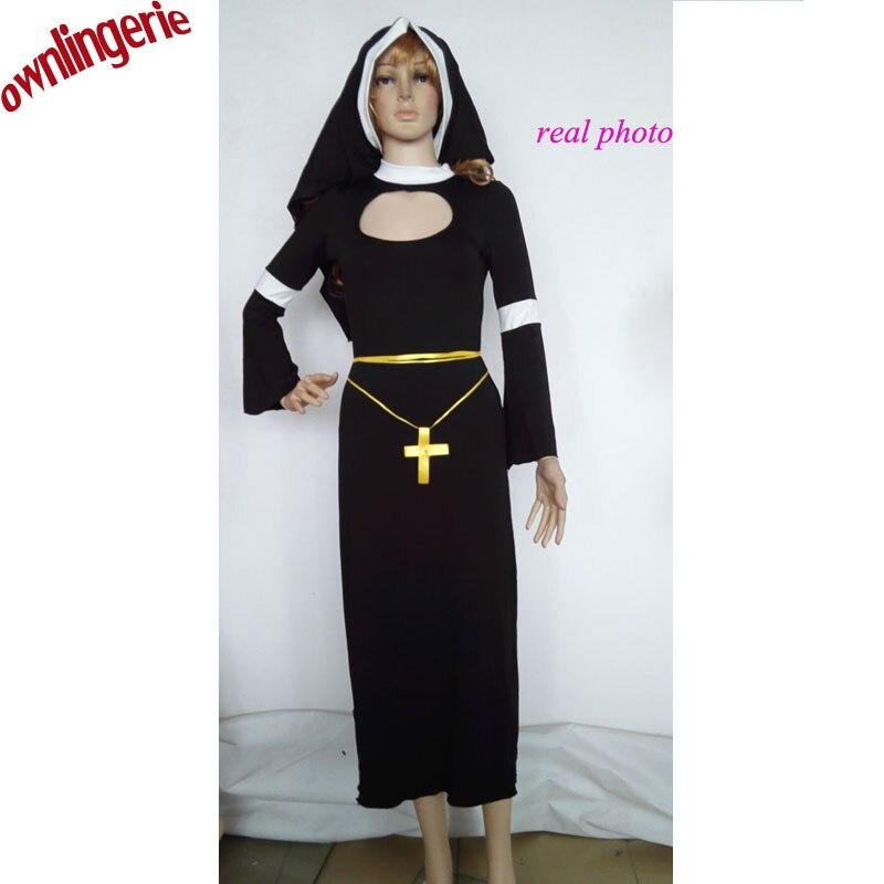 고품질 할로윈 파티 코스프레 의상 수녀의 여성 priests 드레스 세인트 마리아 의류 수녀 의상