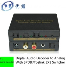 Free ship Digital Audio Decoder to Analog With SPDIF/Toslink 3X1 Switcher Support real 5.1 audio decoder, optical fiber input