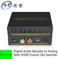 YOUTING Цифровой Аудио Декодер Сигнала в Аналоговый С SPDIF/Toslink 3X1 Switcher Поддержка реального 5.1 аудио декодер оптический вход волокна