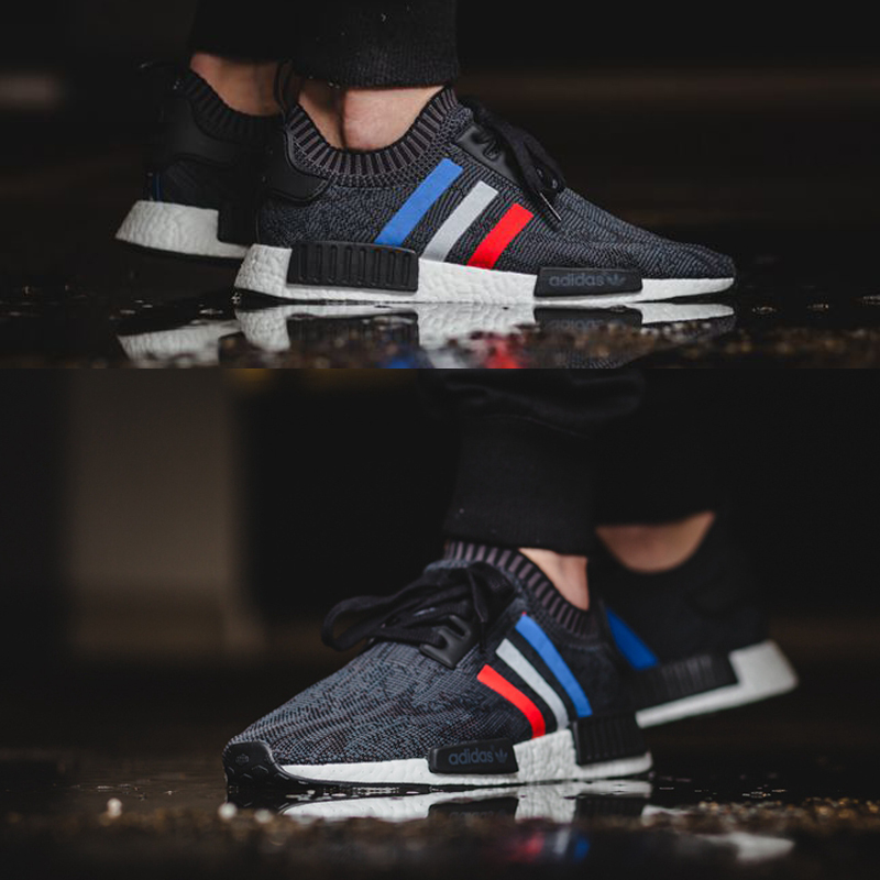 Adidas NMD R1 Tri Color Men's Running Shoes , Original Sports Outdoor Sneakers Shoes,black, Non slip Lightweight BB2887