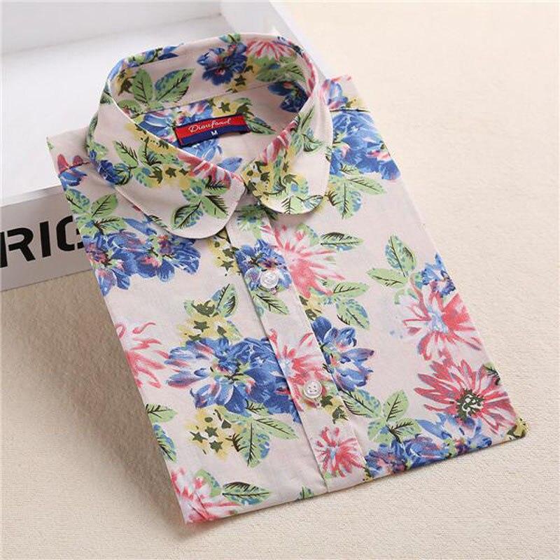 Flower Printed Ladies Vintage Long Sleeve Turn-down Collar Women's Tops
