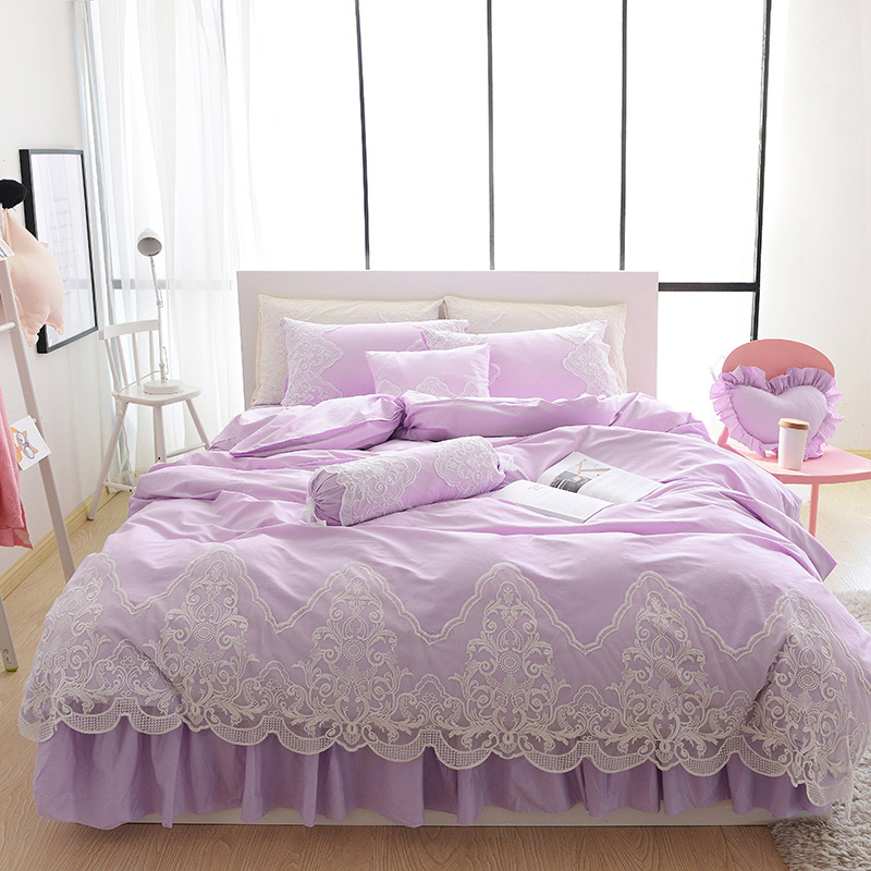 Princess Girls Ruffle Lace Solid Light Purple Grey Pink White Blue Bedding Set Queen & King Size Cotton Duvet Covers Bedspread