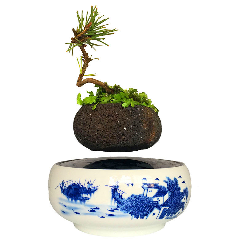 2018 Japan Magnetic Levitation Floating Air Bonsai Small Plant Pots Birthday Gifts For Men Free Shipping No