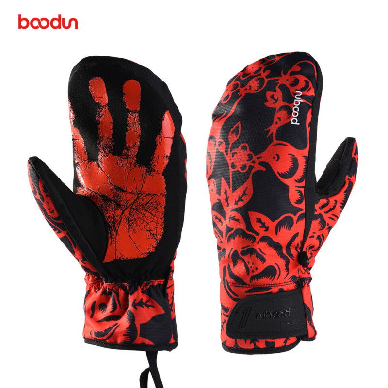 Boodun Winter Snowboard Gloves For Men Women Ski Gloves Windproof Waterproof Non-slip Skating Skiing Gloves Cotton Warm Mittens