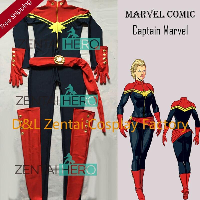 Бесплатная доставка DHL Новый Темно-синие и красный спандекс г-жа капитан Марвел костюм супергероя для 2016 Костюм для Хэллоуина MCC009