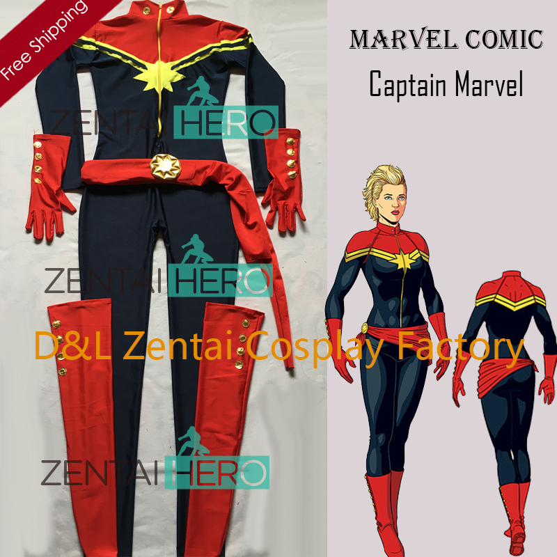 free shipping dhl new navy blue and red spandex ms  captain marvel superhero costume for 2016
